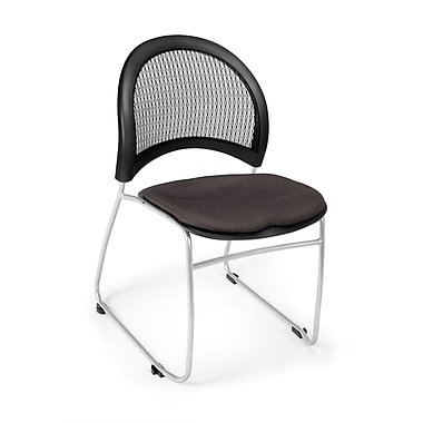 OFM Moon Series Fabric Stack Chair With Mesh Back, Slate Gray