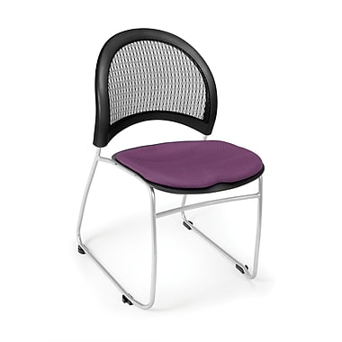 OFM Moon Series Fabric Stack Chair With Mesh Back, Plum