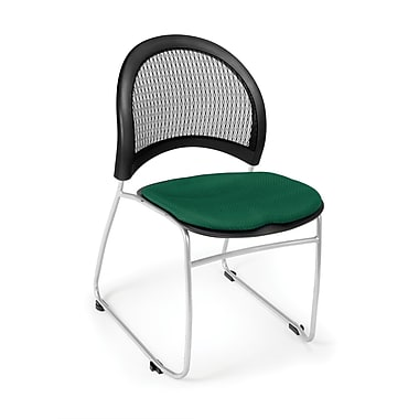 OFM Moon Series Fabric Stack Chair With Mesh Back, Forest Green
