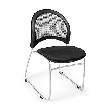 OFM Moon Series Fabric Stack Chair With Mesh Back, Black