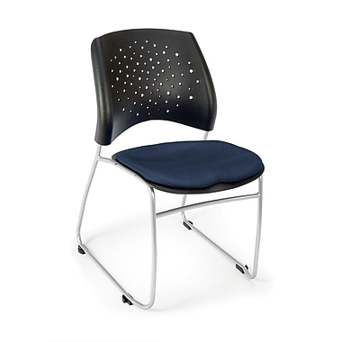 OFM Stars Series Fabric Stack Chair With Triple Curve Seat Design, Navy