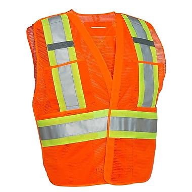 Forcefield 5-Point Tear-Away Traffic Vest, Lime, L/XL