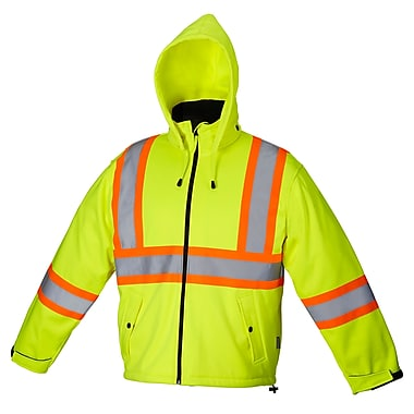 Forcefield Softshell Safety Rain Jacket, Lime, XL