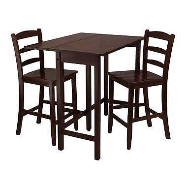 Winsome Lynnwood 3-piece Drop Leaf High Table With 2 Counter Ladder Back Stool/Chair, Antique Walnut