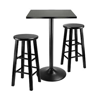 Winsome 3-piece Counter Height Dining Set, Square Table Top With Black Metal Legs and 2 Wood Stools, Black