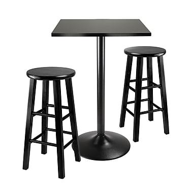 Winsome – Ens. de salle à manger 3 pièces, table haute carrée sur pied en métal noir et 2 tabourets en bois, noir