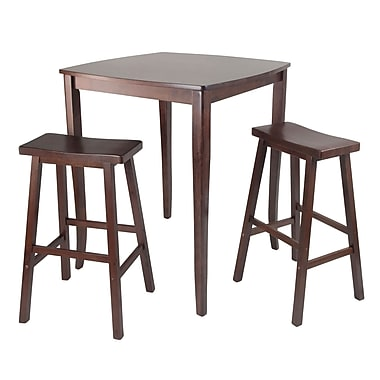 Winsome 3-piece Inglewood High/Pub Dining Table With Saddle Stools, Antique Walnut