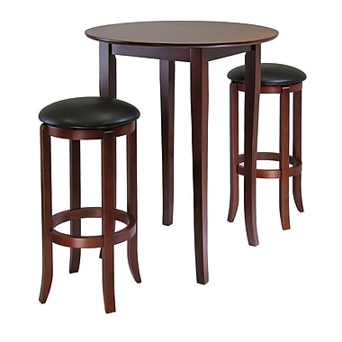 Winsome Fiona 3-piece High Round Pub Table With PVC Stools, Antique Walnut