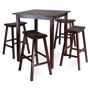 Winsome Parkland 5pc Square High/Pub Table Set With 4 Saddle Seat Stools, Antique Walnut
