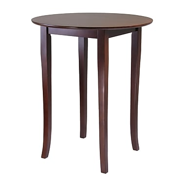 Winsome Fiona High Round Pub Table, Antique Walnut
