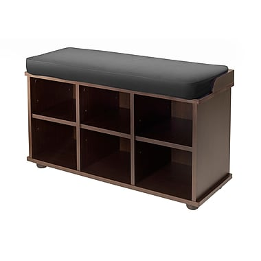 Winsome Townsend Storage Bench with Black Cushion Seat, Espresso