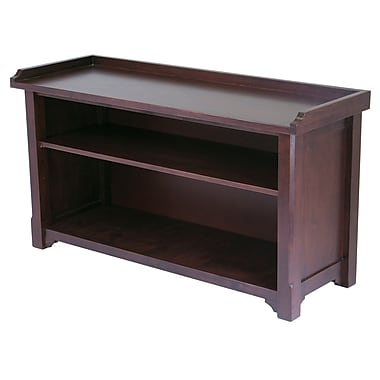 Winsome Milan Storage Bench with Shelf, Antique Walnut
