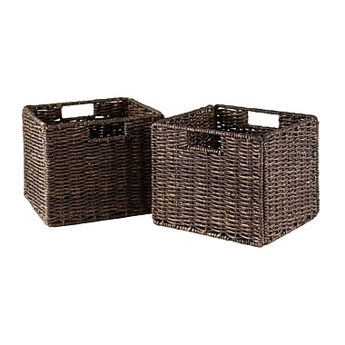 Winsome Granville Foldable Small Corn Husk Baskets, Chocolate, 2/Pack