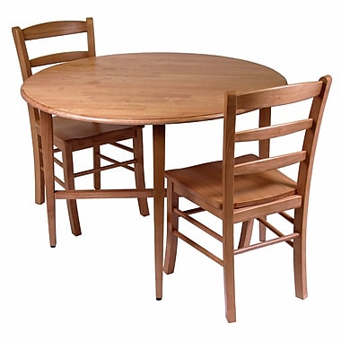 Winsome Hannah Drop Leaf Dining Table with 2 Ladder Back Chairs, Light Oak