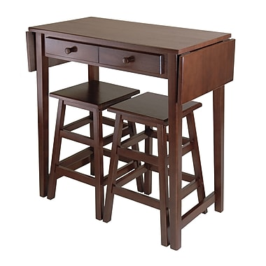 Winsome Mercer Double Drop Leaf Dining Table with 2 Stools, Cappuccino