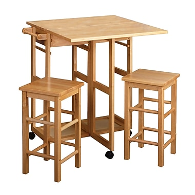 Winsome Space Saver Drop Leaf Dining Table with 2 Square Stools, Natural