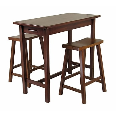 Winsome Kitchen Island 3-Piece Dining Table Set with Saddle Stools, Antique Walnut