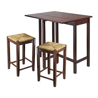 Winsome – Ensemble 3 pièces avec table de salle à manger à abattant et tabourets à pattes carrées Lynnwood, fini noyer antique