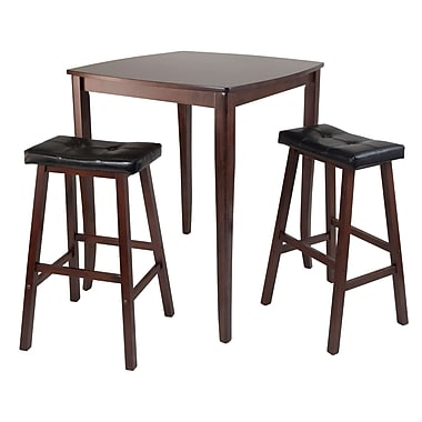 Winsome Inglewood High/Pub Dining Table with 2 Cushioned Saddle Stools, Antique Walnut
