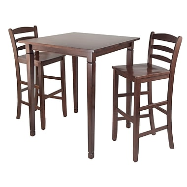 Winsome Kingsgate High/Pub Dining Table with 2 Ladder Back High Chair, Antique Walnut