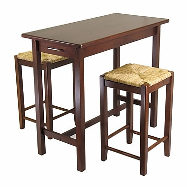 Winsome Kitchen Island 3-Piece Dining Table Set with Rush Seat Stools, Antique Walnut