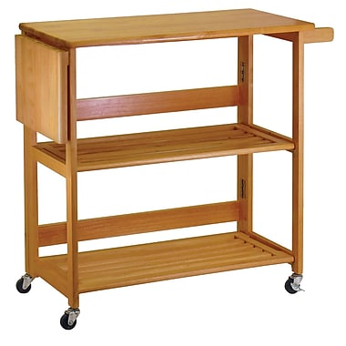 Winsome Kitchen Cart Foldable, Light Oak