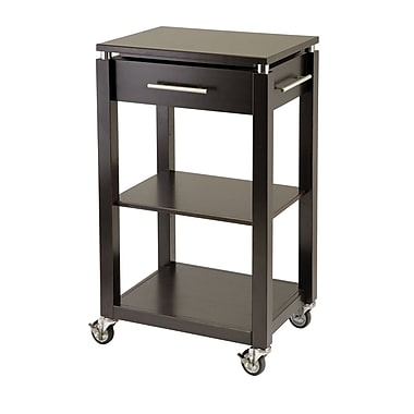 Winsome Linea Kitchen Cart with Chrome Accent, Espresso