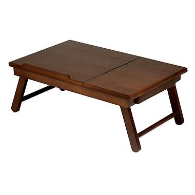 Winsome Alden Lap Desk, Flip Top with Drawer, Foldable Legs, Antique Walnut