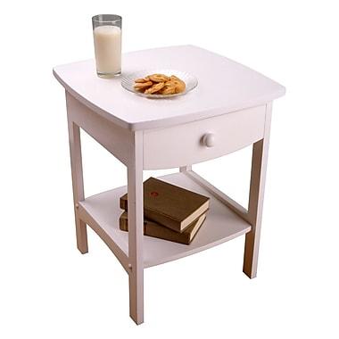 Winsome – Table de bout/de chevet aux bords arrondis avec un tiroir, blanc