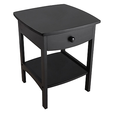 Winsome Curved End/Night Table With Drawers, Black
