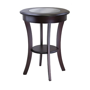 Winsome Cassie Round Accent Table With Glass, Cappuccino