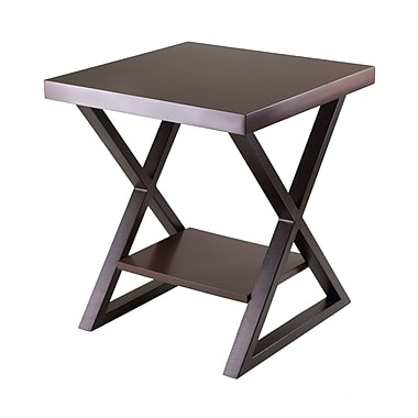 Winsome Korsa End Table With Dark Bronze Legs, Cappuccino