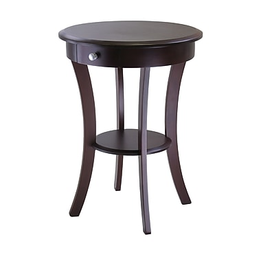Winsome Sasha Round Accent Table, Cappuccino
