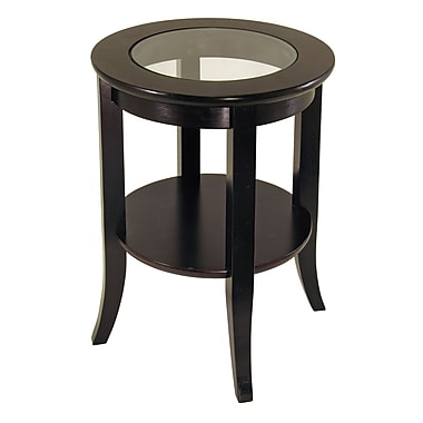 Winsome Genoa End Table, Glass Inset, One shelf, Espresso