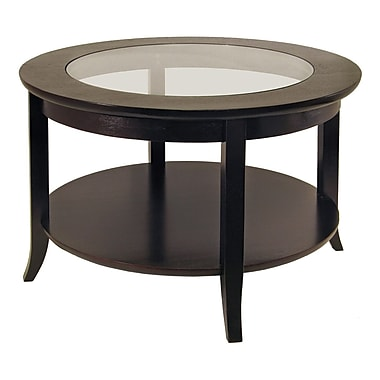 Winsome Genoa Coffee Table, Glass Inset, One shelf, Espresso