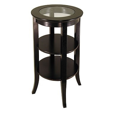 Winsome Genoa Accent Table, Glass Inset, Two shelves, Espresso