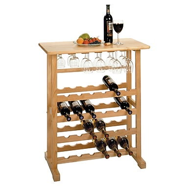 Winsome 24-Bottle Wine Rack with Glass Rack, Natural