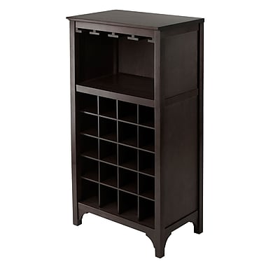 Winsome Ancona Modular Wine Cabinet with Glass Rack & 20-Bottle, Espresso