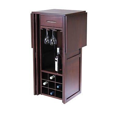 Winsome Newport Wine Bar Expandable Counter, Antique Walnut