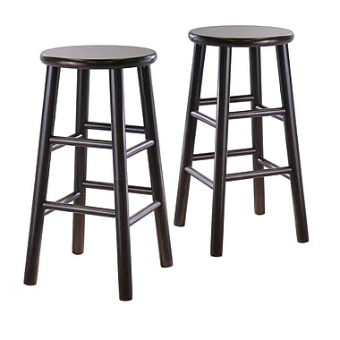 Winsome Bevel Seat Stools, Espresso, 2/Pack