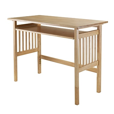 Winsome Computer Desk with Keyboard Tray, Foldable, Natural