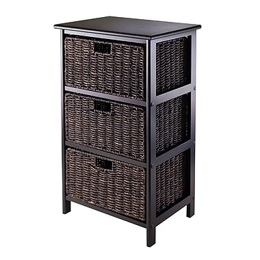 Winsome Omaha Storage Rack with 3 Foldable Baskets, Black