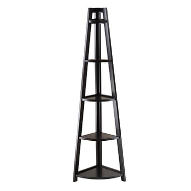 Winsome Adam 5-Tier A-Frame Corner Shelf, Black