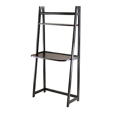 Winsome Adam A-Frame Desk with 2 Shelves, Black