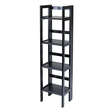Winsome 4-Tier Folding Shelf, Narrow, Black