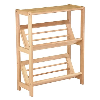 Winsome Bookshelf with Slanted Shelf, Natural