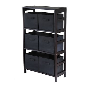 Winsome Capri 3-Section M Storage Shelf with 6 Foldable Black Fabric Baskets, Espresso