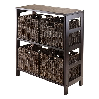 Winsome Granville 5-Piece Open Storage Shelf with 4 Foldable Baskets, Espresso