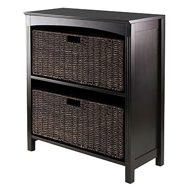 Winsome 3-Tier Shelf with Baskets, Espresso