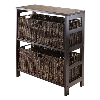Winsome Granville 3-Piece Storage Shelf with 2 Large Baskets, Espresso